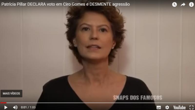 Patrícia Pillar desmente em vídeo agressões de Ciro Gomes e faz declaração de voto