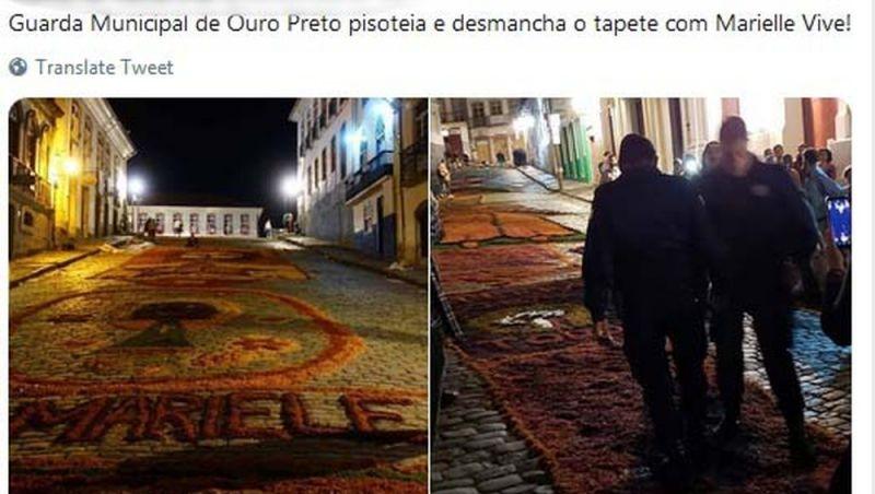 Guarda em Ouro Preto pisoteia tapete dedicado a Marielle Franco e diz que 'liberdade de expressão não é absoluta'