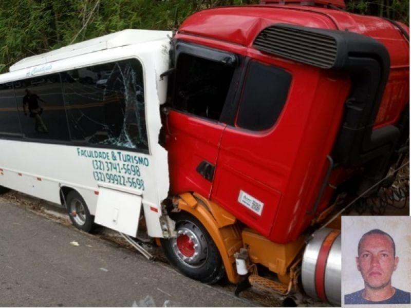 Miradouro: carreta atinge microônibus parado na BR-116 e motorista morre no local
