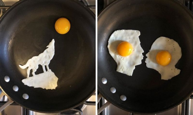 Estudante de medicina usa espátula para fazer arte com ovos