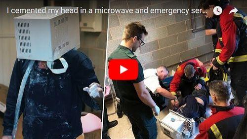 Sufoco: youtuber chama bombeiros após cimentar sua cabeça em um microondas