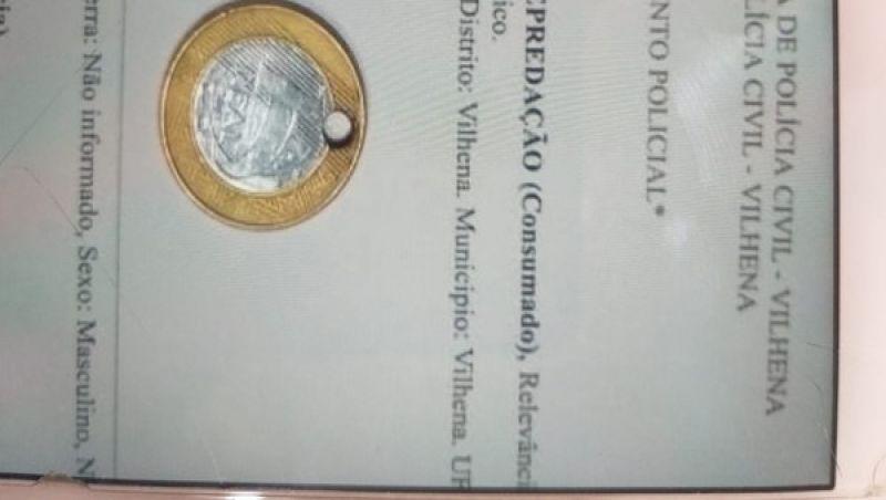 Jovem de 19 anos é preso por ter furado moeda de R$ 1 real em Vilhena, RO