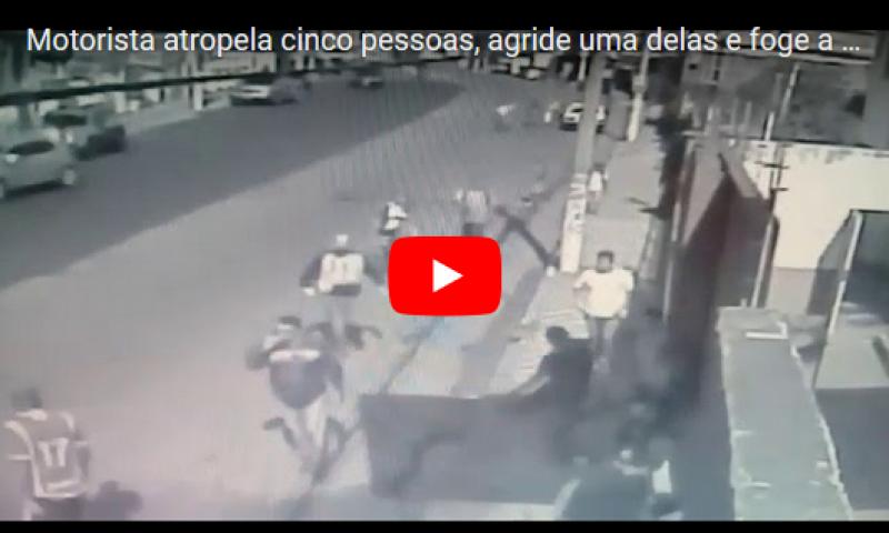 Motorista atropela cinco pessoas, agride uma delas e foge a pé em Pouso Alegre; veja vídeo