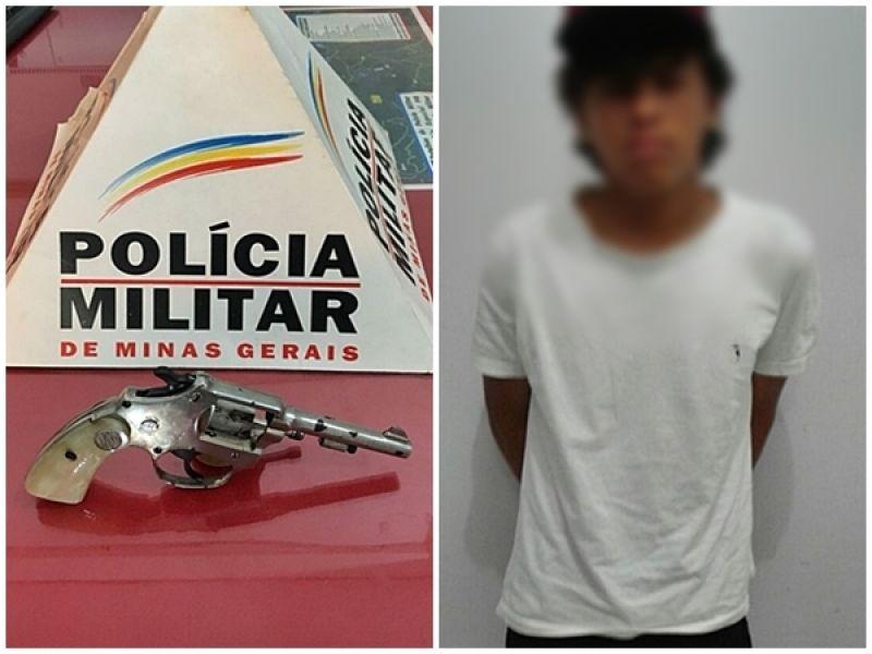 PM prende jovem em festa de carnaval com revólver no bolso em Orizânia