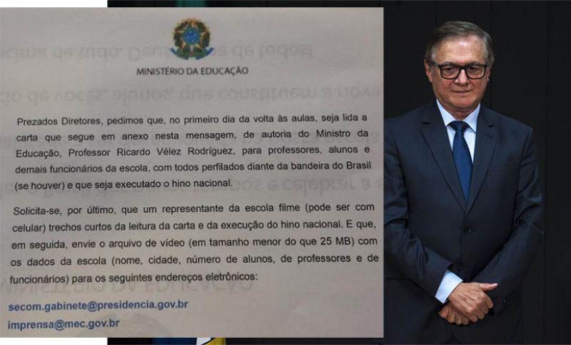 MEC pede execução do Hino Nacional nas escolas e leitura do slogan de campanha de Bolsonaro