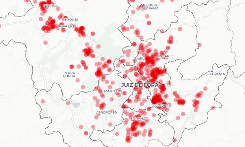 Veja mapa interativo dos homicídios em JF nos últimos seis anos