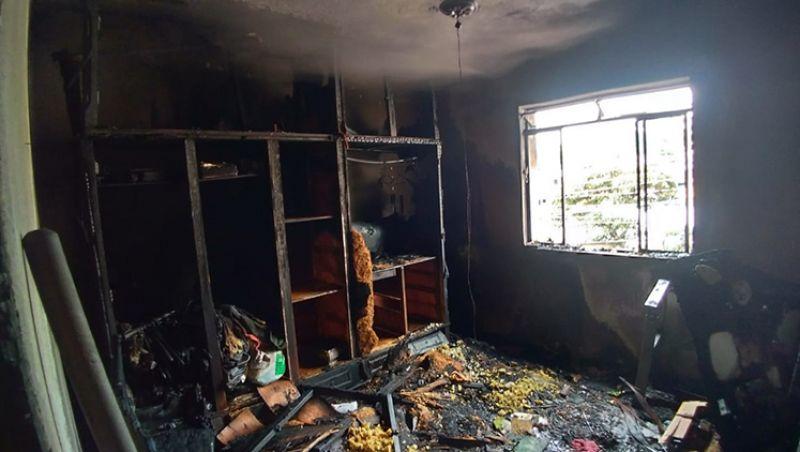 Bombeiros apagam incêndio em residência na Região Leste de Juiz de Fora
