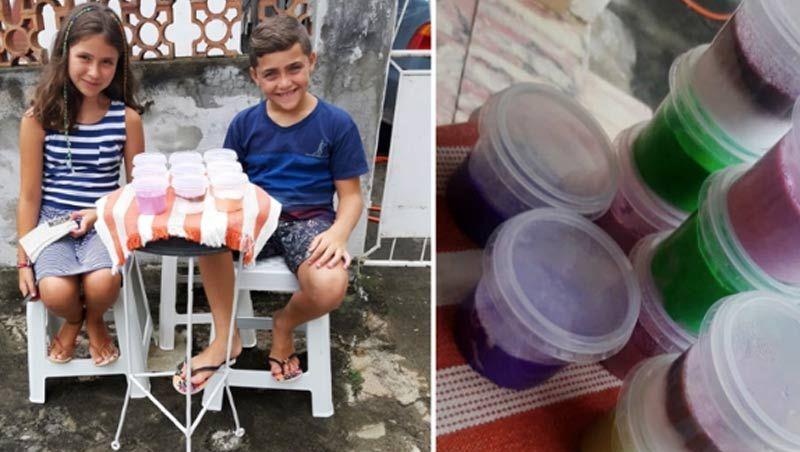 Primos vendem slime na rua para alimentar cães sem dono