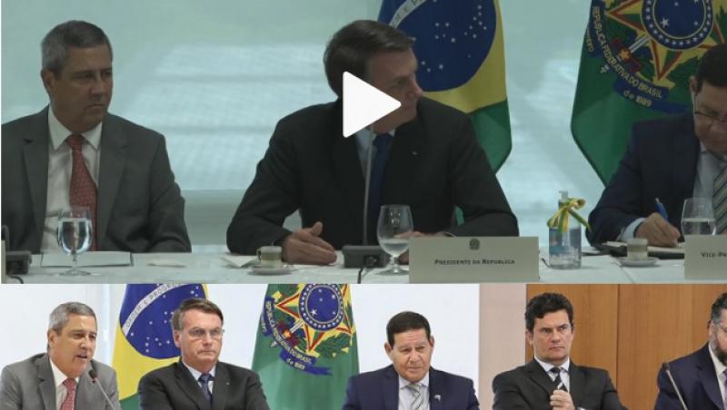 Ao falar em 'interferir', Bolsonaro olha para o lado onde está sentado Sergio Moro