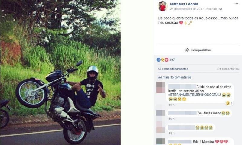 Jovem que morreu empinando moto fez post sobre risco da manobra: 'Ela pode quebrar meus ossos'