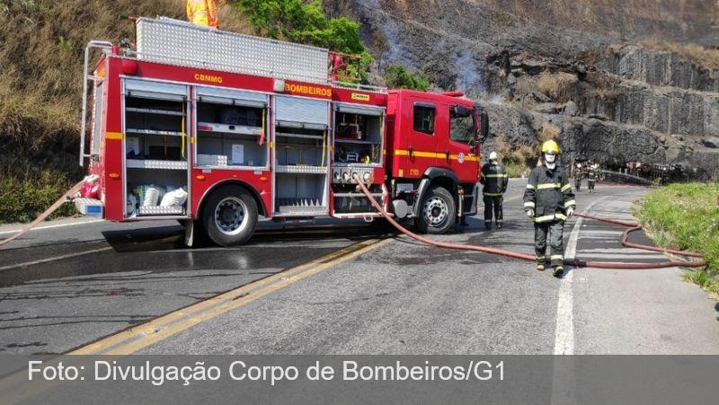 Trecho da BR-265 em Barbacena é liberado após acidente com caminhão-tanque; corpo do motorista é identificado