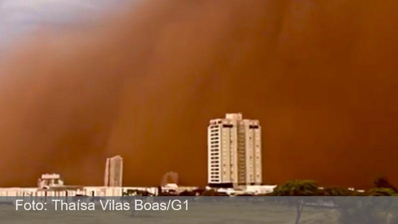 Moradora de Franca, SP, registra nuvem gigante de poeira ao lado do apartamento: 'nunca tinha visto isso'