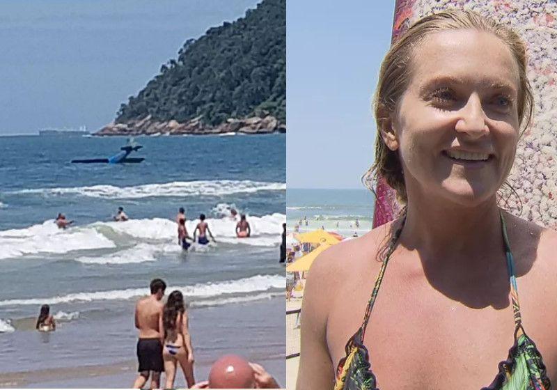 Piloto é salvo após queda de monomotor em praia de Guarujá; vídeo