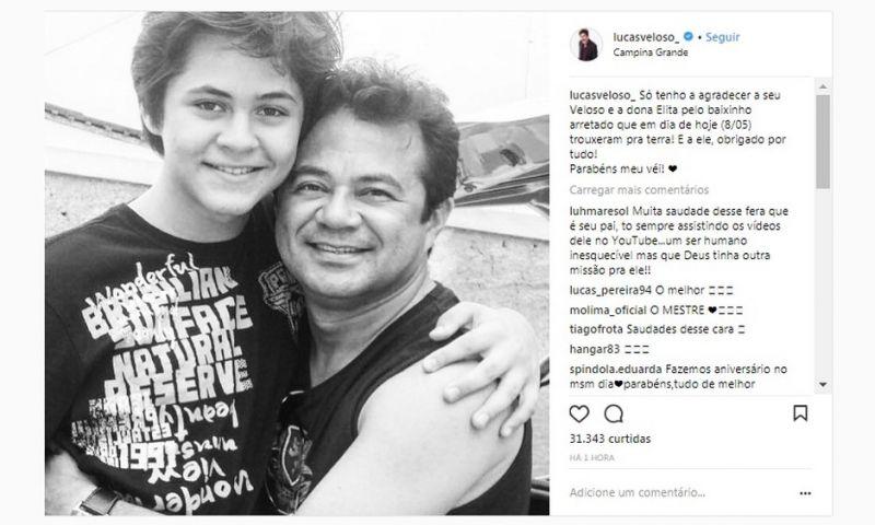 Lucas Veloso posta homenagem ao pai Shaolin, que faria 47 anos hoje