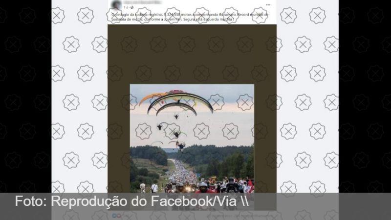 Foto de protesto na Lituânia é falsamente atribuída à motociata de Bolsonaro