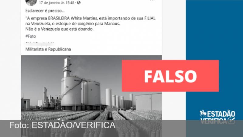 Venezuela doou oxigênio para Manaus, ao contrário do que afirmam postagens no Facebook