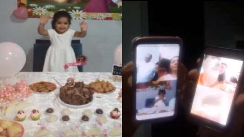 Menina tem festa por videochamada e um bolo na casa de cada 'convidado'