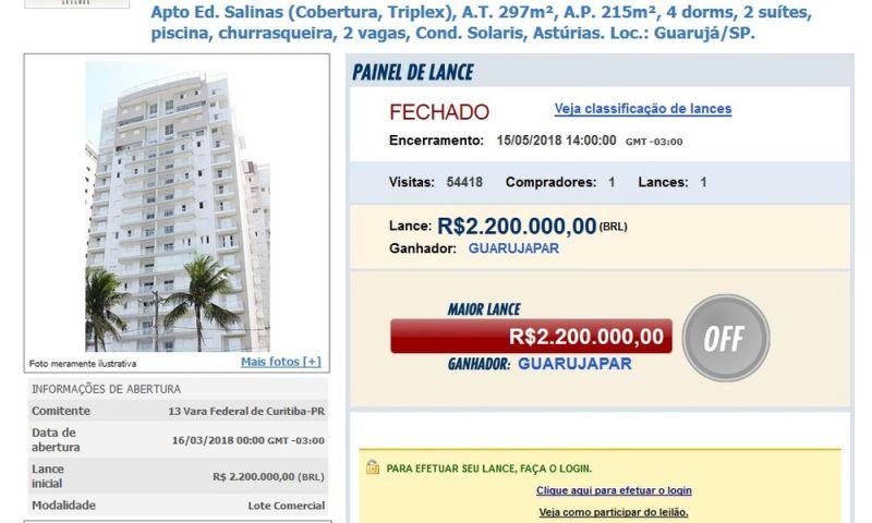 Lava Jato: triplex atribuído a Lula é arrematado com oferta única de R$ 2,2 milhões