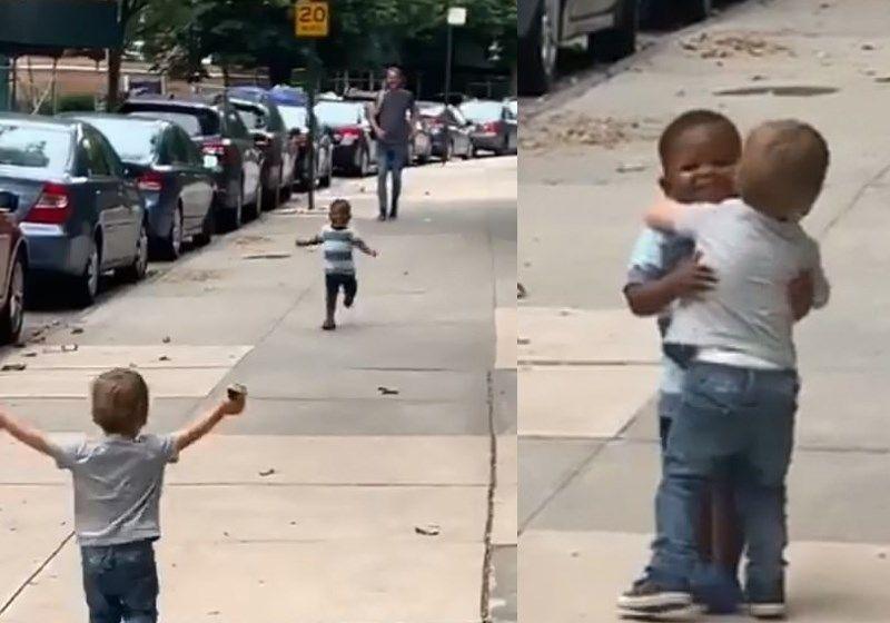 Abraço de amizade de garotinhos de 2 anos emociona web; veja o vídeo