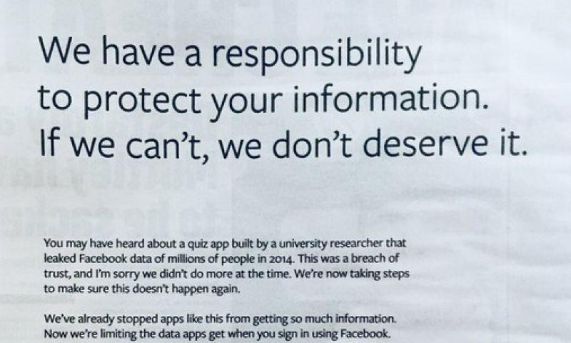 Presidente do Facebook usa anúncios em jornais para pedir desculpas aos britânicos