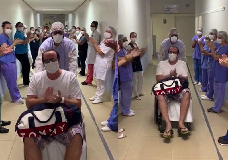 Paciente grave com covid-19 melhora e recebe alta sob aplausos; vídeo
