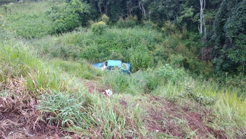 Carro cai em barranco e deixa feridos na BR-040 em Barbacena