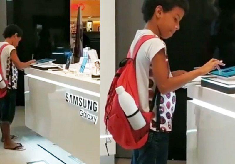 Samsung doa tablet a garoto flagrado estudando em loja de shopping em Recife