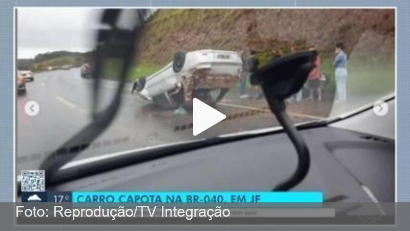 Duas pessoas ficam feridas ao capotarem com carro na BR-040 em Juiz de Fora