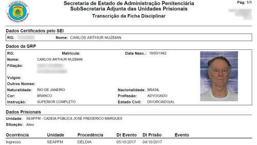 Imagem mostra ficha prisional de Nuzman no Rio