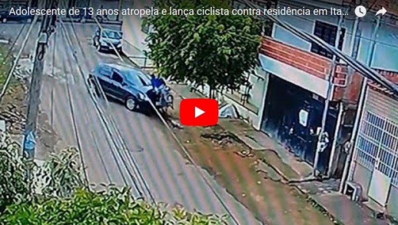 Itaperuna: garota de 13 anos pega carro dos pais e atropela e lança ciclista contra fachada de residência