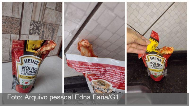Mulher diz ter encontrado pedaço de frango em pacote de molho de tomate: 'Não consegui almoçar'